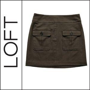 ( Loft ) Olive Patch Pocket Utility Skirt